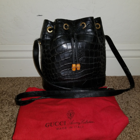 c7411efb747 Gucci Handbags - !SaLe! VINTAGE GUCCI ALLIGATOR DRAWSTRING BUCKET